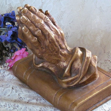 Vintage Homco Praying Hands on Bible Book 1974 Collectible Home Decor