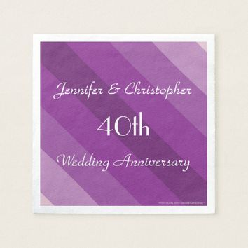Purple Striped Napkins, 40th Wedding Anniversary Napkin