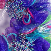 Mesh Wreath for winter or Christmas sapphire jewel tones winter wonderland snowflakes deco geo
