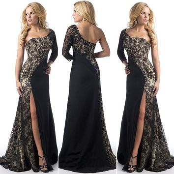 Women's Elegant Sexy One Shoulder Maxi Dresses Split Party Cocktail Ball Gown Lace Long Dress