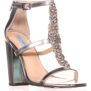Blue by Betsey Johnson Lydia Dress Sandals, Silver/Metallic, 7 US