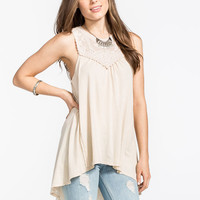 Others Follow High Neck Fanciful Womens Top Cream  In Sizes