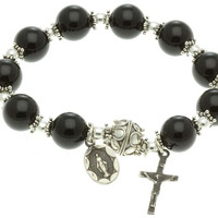 Sterling Silver Elastic Rosary Bracelet with Black Onyx 10mm