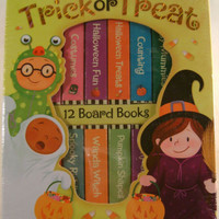 Trick or Treat 12 Mini Board Books Carry Case Shapes Riddles Counting Halloween