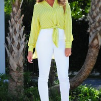 Making Moves Blouse: Key Lime/White