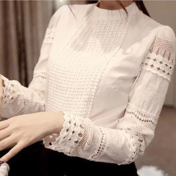 High Quality Spring Autumn Women's Cotton Shirts long-sleeved Blouses Slim basic Tops hollow lace shirts For Female J2531