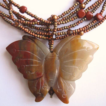 Carnelian Butterfly Pendant Necklace of Copper and Bronze Colored Seed Beads Swarovski Crystal Pearls and Crystals With Red Jasper Nuggets