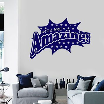 Vinyl Wall Decal You Are Amazing Word Lettering Inspire Inspiration Quote Stickers Mural (ig5644)