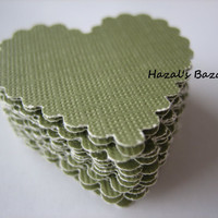 20PCS - Scrapbooking, Jewelry Design, Collage, Cardmaking and Crafting - 3cm - Hearts - Sage