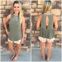 Higher Love Tank: Olive