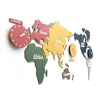 3D World Map Wide Wall Clock For Wall Decor