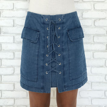 Happy Hour Lace Up Denim Skirt