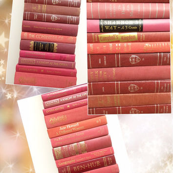 Vintage Books,Marsala Books ,Marsala Wedding, Peach Books, Pink Books, Burgundy, Photo Prop Books, Decor ,Books for Wedding, 2015 Wedding