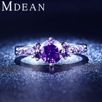 White gold plated Purple Amethyst Jewelry CZ Diamond Engagement Bague Bijoux Luxury Accessories Wedding Rings For Women MSR199
