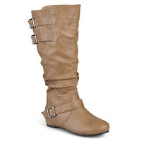 Journee Collection Womens Wide and Extra-Wide Calf Slouch Low-Wedge Riding Boots