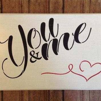 Valentine's Day Gift For Wife, Girlfriend Gift, Valentine's Day Decor, Wedding Or Anniversary Gift, Wedding Decor, You & Me Wood Block Art