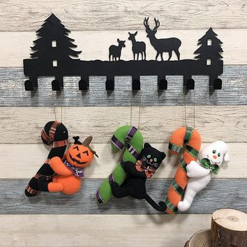 Halloween Hanging Ornaments Black Cat Pumpkin Ghost Plush Dolls Kid Trick Pendant Props Ghost Festival Party Decoration Supplies