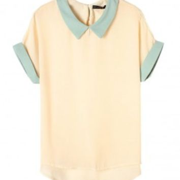Color Block High Low Chiffon Blouse with Button Closure