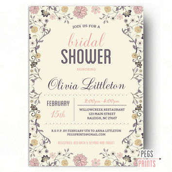 Floral Bridal Shower Invitation - Printable Bridal Shower Invitation - Elegant Bridal Shower Invitation - Shabby Chic Bridal Shower Invites