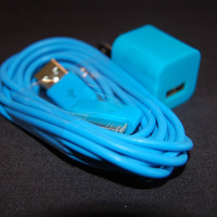 Blue Iphone Color 6 Foot Long Cord + Wall Charger Block - Apple 4 4s Six Plug