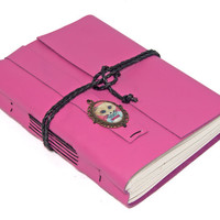 Pink Leather Journal with Fox Cameo Bookmark
