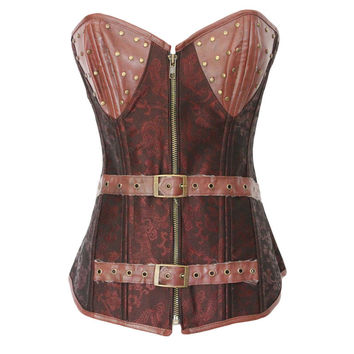 Body Sexy Shaper Waist Palace Vintage Zippers Print Slim Push Up Corset [4965391108]