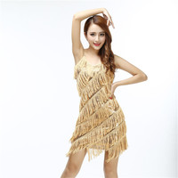 Hot sales stunning flapper fringe 1920s gold vintage great gatsby charleston sequin party latin dance dress plus size