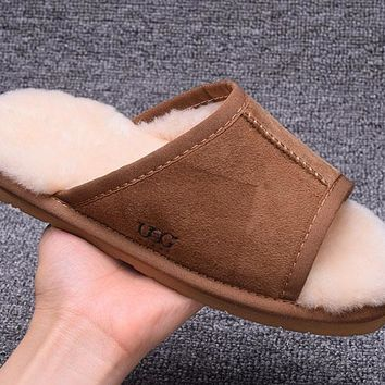 ESBON UGG Open Toe Slipper Sheepskin Women Men Fashion Casual Wool Winter Snow Boots Chestnut