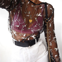 Summer Women's Fashion Hot Sale See Through Floral Embroidery Long Sleeve T-shirts [10357217997]