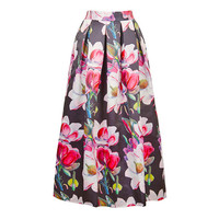 Floral Print Pleated Skirt 10393