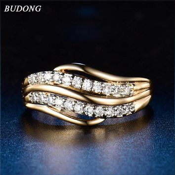BUDONG Infinity Antique Mosaic AAA Zircon Crystal Vintage Gold Color Cross Ring Women Wedding Finger Luxury Bijoux XUR592