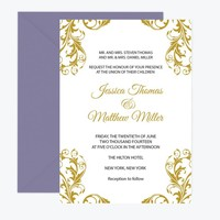 Gold Damask Wedding Invitation Template