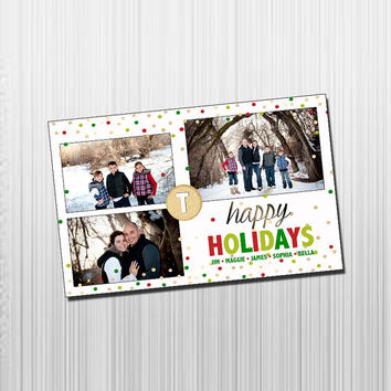 Custom Photo Holiday Card - Digital File Photo Holiday Card - Colorful Snow