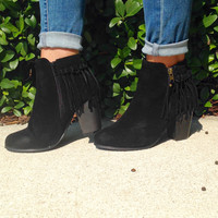 Kick The Dust Up Ankle Booties - Black
