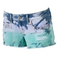 Mudd Tie-Dyed Studded Shortie Shorts - Juniors