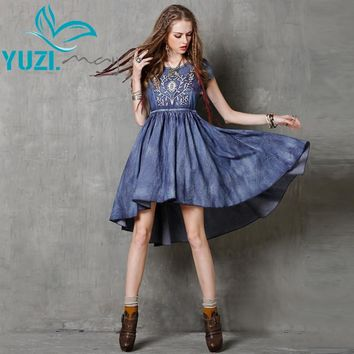 Summer Dress New Women Dresses O-Neck Short Sleeve Embroidery Asymmetrical