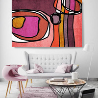 """Vibrant Colorful Abstract-0-66. Mid-Century Modern Red Pink Canvas Art Print, Mid Century Modern Canvas Art Print up to 72"""" by Irena Orlov"""
