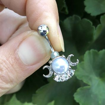 Silver Pearl Crescent Moon Belly Button Ring