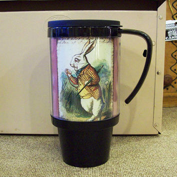 Alice in Wonderland travel mug retro vintage coffee cup Victorian fantasy