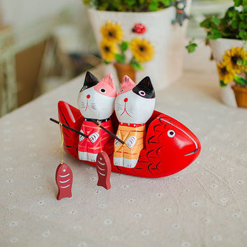 Nordic Wood Big Size Couple Cats Fishing Gifts Bottom & Top [6282970822]