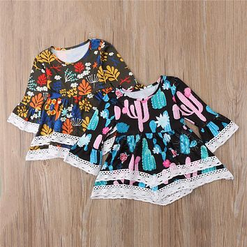 Cactus Floral Printed Dress For Girls  Newest Child Casual Party Dresses Baby Girls Long Sleeve Princess Dresses