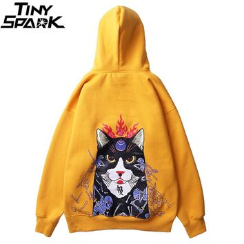 Men Hip Hop Hoodie Sweatshirt Harajuku Japan Anime Skull Boss Cat Printed Hoodie Pullover Cotton Autumn 2018 Japanese Streetwear