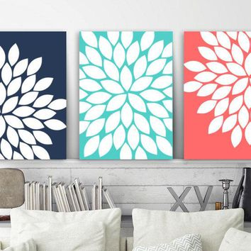 Navy Coral Flower Wall Art, Canvas or Print, Coral Bathroom Decor, Turquoise Bedroom Wall Decor, Flower Burst Dahlias, Set of 3, Home Decor