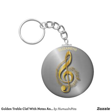 Golden Treble Clef With Notes And Shadows Keychain