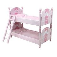18 Inch Doll Bunk Bed, Doll Bedding & Ladder Doll Furniture fit for 18 Inch American Girl Doll Bed Rooms & More, Hand Painted Pink Doll Bed