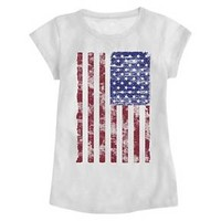 Baby Girls' American Flag Graphic Tee White : Target