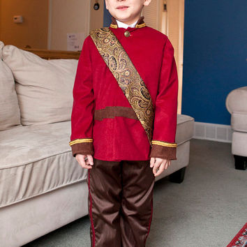 Prince Charming Pirate Circus Ring Master Boy Costume Red Jacket, Pants, Gold Vest, Sashes for play, child gift or Disney adventure