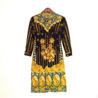 Vintage Ornamental Pattern Dress, Long Sleeve Dress With Yellow Flowers, Dark Blue Floral Dress, Versace Style