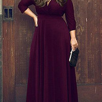 Purple V Neck 3/4 Sleeve Plus Size Skater Maxi Dress