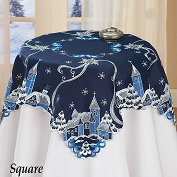 Christmas Town Snowy Night Beautiful Embroidered Table Square